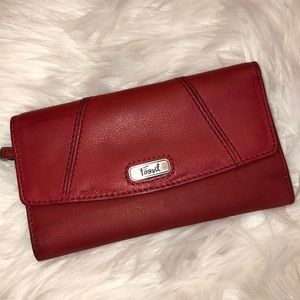 Fossil red leather wallet Good Condition